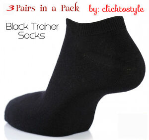 3 PAIRS WOMEN BLACK BREATHABLE QUALITY TRAINER LINER ANKLE SOCKS UK SIZE 6-11