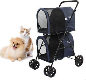 Dawoo Double Pet Dog Cat Stroller Pushchair Buggy Pram Animal Car Carrier 4Wheel
