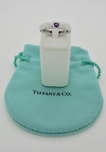 Authentic Tiffany & Co. Friendship Heart Amethyst 18k White Gold Ring - RARE