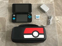 Nintendo 2DS XL Black JAN 001 Console w/ Charger Pokemon Case Alpha Sapphire Set