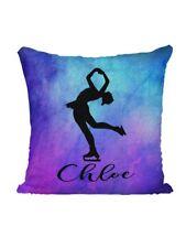 Personalized Mermaid Sequin Flip Pillow - Skating - Purple Watercolors