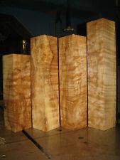 4 FIGURED BIG LEAF MAPLE WOOD TURNING LUMBER 2-5/8x2-5/8 x 9-7/8 - 14 VASE BLANK