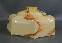 ART DECO BOHEMIAN LOETZ CASED GLASS CARAMEL GREY SLAG LAMP SHADE