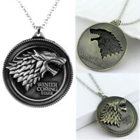 Game of Thrones Necklace House Stark Wolf Necklace Winter Is Coming Pendant Gift