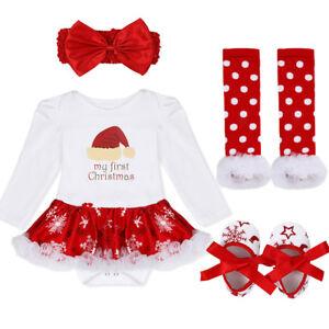 Baby Girls Xmas Party Christmas Outfits Santa Claus Tutu Romper Dress+Headband