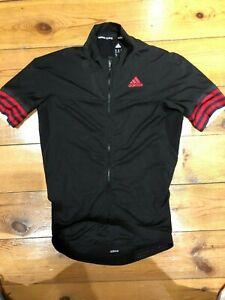 Adidas Cycling Mens Black Full Zip Short Sleeve Cycling Top UK Medium