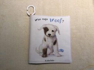 "Handmade soft cloth baby book ""Animals/animal noises"" 100% cotton"
