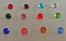 Set of 12 5 mm Round Birthstone/accent crystal charms for glass floating lockets
