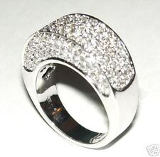 Italian 18k Solid White Gold Genuine Diamond Pave Dome Ring 1.70 cts