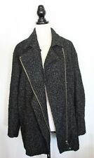 COUNTRY ROAD ~ Black & White Boucle Wool Blend Zip Front Relaxed Fit Coat XL