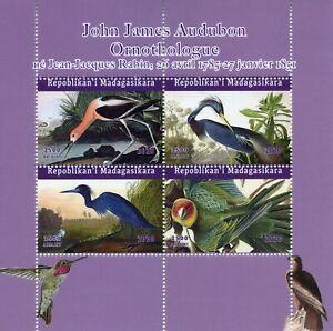 Madagascar Birds on Stamps 2020 MNH John James Audubon Art Parrots 4v M/S