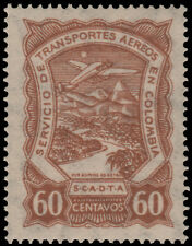 ✔️ COLOMBIA SCADTA 1923 - AIRPLANE OVER RIVER - SC. C45 ** MNH [SCDT35]