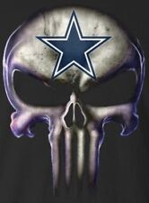 (2) Dallas Cowboys Punisher Skull Vinyl Stickers 5x3.7 Car Window Decal Logo NFL