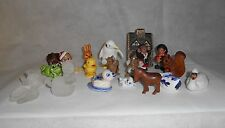 Miniature Figurines set of 21 mixed animals, sea, human, house Sculptures