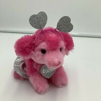 """Justice Pet Shop Cupid Pink Puppy Dog Plush 6"""" Toy Heart Silver Stuffed  Gund"""