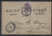ORANGE FREE STATE COVER (P0612B)  1893 TREE 1 1/2D/1D ON PSC TO GERMANY