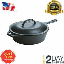 Lodge 3 Quart Cast Iron Deep Skillet with Lid. Covered Cast Iron Skillet for Dee