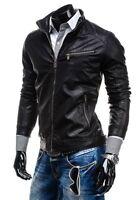 PROMOZIONE Giacca Giubbotto in di Pelle Uomo Men Leather Jacket Veste R55 tg-54