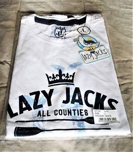 LAZY JACKS LJ15 Size L Heavyweight Cotton Men's Printed T-Shirt White