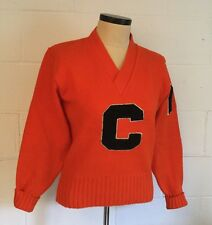 """Vtg 38 AMF Letterman Official Award Sweater """"C"""" Orange 1978 Tennessee American"""
