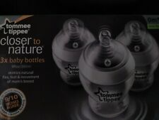 3 Pack Tommee Tippee Closer to Nature 0+ Month Slow Flow 9oz Baby Bottles-Nib