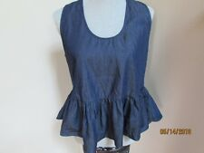 RILLER & FOUNT Size 1 Chambray Denim Dark Blue Ruffle TAnk Top Crop Small S