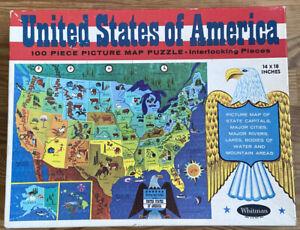 vintage USA map puzzle 1965 die cut