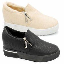 Women High Top Wedge Trainers Mid Hidden Heel Sneakers Zip Flat Ankle Boots