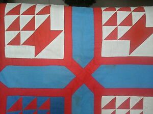 NEW ENGLAND QUILT  collectible, cover, puff, patch red & blue