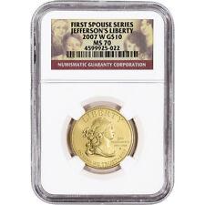 2007-W US First Spouse Gold 1/2 oz BU $10 - Thomas Jefferson's Liberty NGC MS70