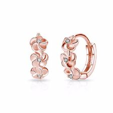 Rose Gold Flower Hoop Earrings with Crystals from Swarovski®