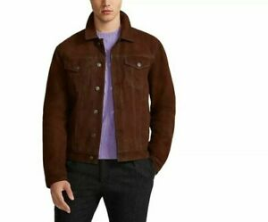 $900 Polo Ralph Lauren Suede Leather Trucker Jacket Brown Size Large L