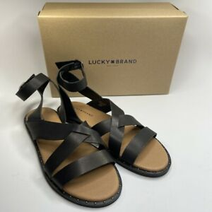 NEW Lucky Brand Black Leather Wrap Around Ankle Strap Fannia Sandals Sz 10