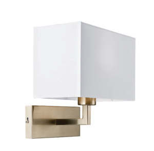 PICCOLO 1 Light Wall Light in Satin Nickel and White Shade Milo Lighting