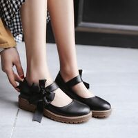 Womens Lolita Sweet Bowknot Mary Jane Pumps Strappy Casual Block Heel Shoes Hot