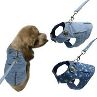 Soft Dog Harness and Leads Leash Pet Puppy Jeans Vest Clothes Cute for Dogs S-L