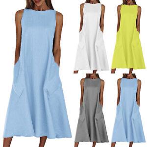 Womens Summer Sleeveless A-Line Midi Dress Ladies Casual OL Tunic Swing Dresses