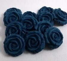 12 NAVY ROSES edible sugar flowers cup cake decorations toppers wedding