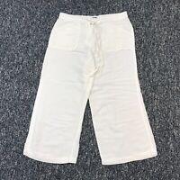 New York & Co Women's White Linen Blend Capri Pants Size 10 Drawstring