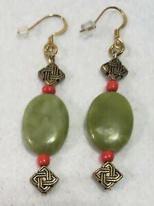 Handmade Earrings Metal Green Oval Stone Red Beads
