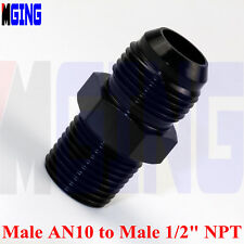 Straight Male -10  AN10  AN-10 to 1/2 NPT Tank Car Fuel Fitting Adaptor