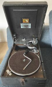Vintage HMV Gramophone Black Case Wind Up Definitely Spins