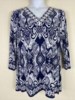 NWT JM Collection Womens Size XL Blue Zen Paisley Tunic 3/4 Sleeve Tunic V Neck