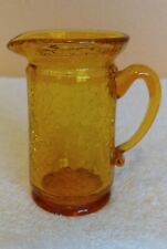 """Vintage Crackle Glass Pitcher Yellow, Amber, Marigold 4"""" Creamer- Syrup"""