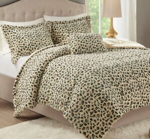 CHEETAH PLUSH ULTRA FAUX FUR 3pc COMFORTER SET : LUXURY SOFT MINK SHAG ANIMAL