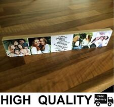 "11x2.5"" Wooden Photo & Text Block Best Friend friendship Personalised Gift"