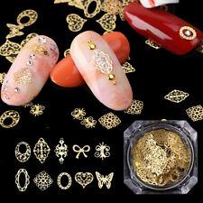 100pcs/set Mix Hollow Heart Butterfly Gold Metal Slice Sequin Paillette Nail Art