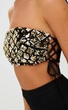 Women's Pretty Little Thing Branded Black Gold Sequin Bandeau Crop Top Size 8