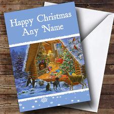 Les animaux peeking Carte de voeux de Noël Personnalisé