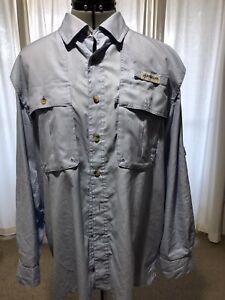 Magellan Outdoors Mag Wick Fish Gear Shirt Long Sleeve Medium Light Blue Check